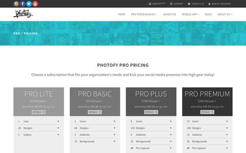 Screenshot of Pricing Page photofy.com - Photofy | Pro | Pricing - captured Dec. 14, 2015