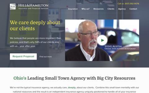 Screenshot of Home Page hillandhamilton.com - Ohio Insurance Agency - captured Jan. 30, 2016