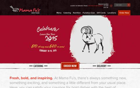 Screenshot of Home Page mamafus.com - Home - Mama Fu's Asian-Style Restaurant & Catering - Mama Fu's - captured Jan. 24, 2015