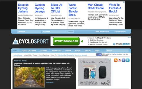 Screenshot of Home Page cyclosport.org - The definitive British cycling events and UK cyclo sportive calendar 2015 | Cyclosport - captured Oct. 7, 2015