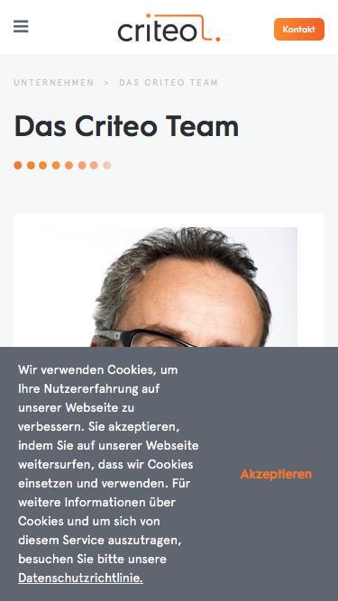 Screenshot of Team Page  criteo.com - Das Criteo-Team: Vorsprung durch Exzellenz