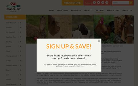 Screenshot of About Page mannapro.com - About Manna Pro, Dedicated to Animal Care and Nutrition | Manna Pro Products, LLC - captured July 27, 2018