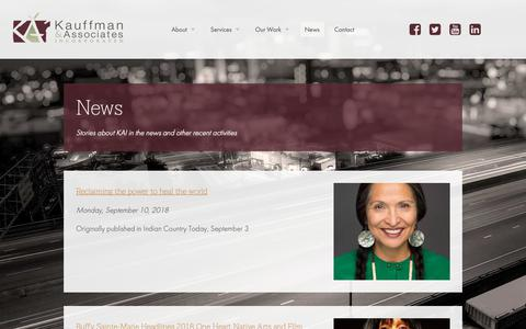 Screenshot of Press Page kauffmaninc.com - Kauffman and Associates | The amazing payoff goes here - captured Oct. 15, 2018