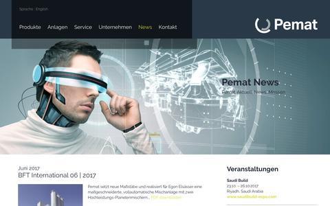 Screenshot of Press Page pemat.de - News – Pemat Mischtechnik GmbH - captured July 20, 2017