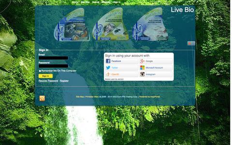 Screenshot of Login Page live-bio.com - Sign In - Live Bio - captured Sept. 30, 2014