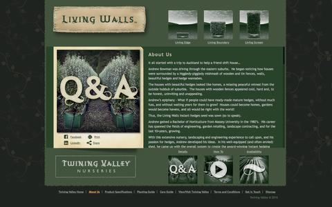 Screenshot of About Page tvn.co.nz - Twining Valley Nurseries information about us and our Living Walls instant hedges - captured Feb. 16, 2016
