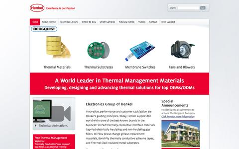 Screenshot of Home Page bergquistcompany.com - Thermal Interface Material, Thermal Management ~ Henkel Electronics - captured Feb. 15, 2016