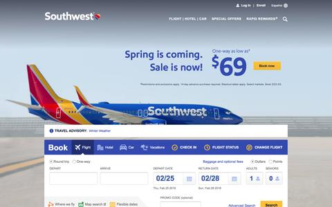 Screenshot of Home Page southwest.com - Southwest Airlines | Book Flights, Airline Tickets, Airfare - captured Feb. 24, 2016
