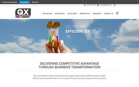 Screenshot of Jobs Page qxltd.com - QX Limited | Delivering savings, efficiencies and transformation - captured Sept. 29, 2014