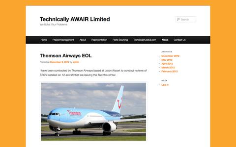 Screenshot of Press Page technicallyawair.co.uk - News | Technically AWAIR Limited | We Solve Your Problems - captured Oct. 7, 2014