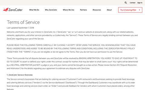 Screenshot of Terms Page zerocater.com - Terms of Service   ZeroCater - captured Jan. 6, 2020