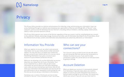 Screenshot of Privacy Page nameloop.com - Nameloop - Privacy - captured Nov. 5, 2014