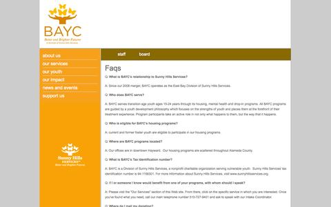 Screenshot of FAQ Page baycyouth.org - BAYC Youth | Faqs | Better and Bigger Futures - captured Oct. 4, 2014