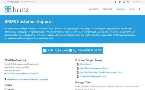 Screenshot of Support Page brmsonline.com - BRMS Customer Support   BRMS - captured Oct. 5, 2018