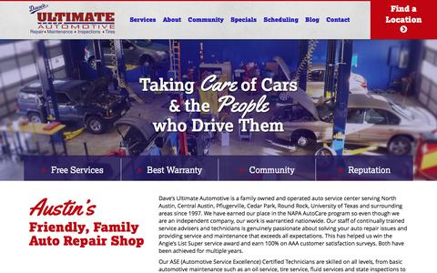 Screenshot of Home Page davesultimateautomotive.com - Dave's Ultimate Automotive - Auto Repair Austin TX - captured July 31, 2016