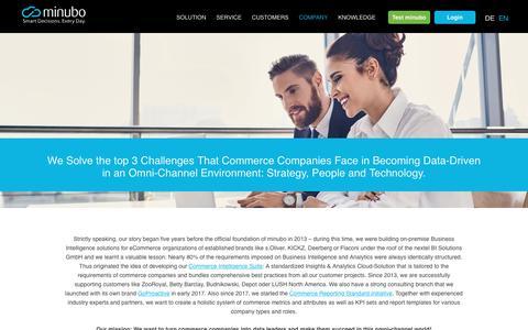 Screenshot of About Page minubo.com - About us – minubo Commerce Intelligence - captured Nov. 8, 2017