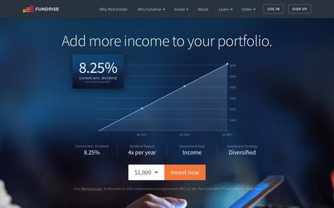 Screenshot of Home Page fundrise.com - Fundrise | The best way to invest in real estate. - captured March 30, 2017