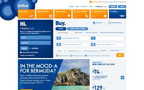 Screenshot of Home Page jetblue.com - JetBlue | Airline Tickets, Flights, and Airfare - captured Oct. 2, 2015