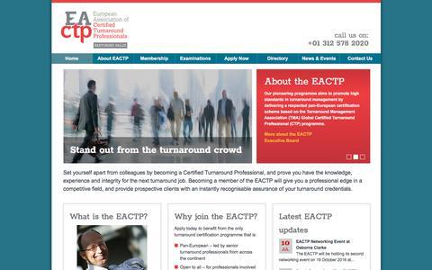 Screenshot of Home Page eactp.eu - European Association of Turnaround Professionals - captured July 14, 2018