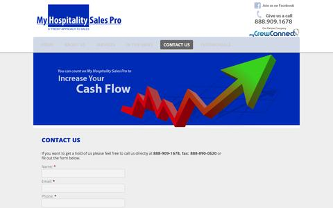 Screenshot of Contact Page myhospitalitysalespro.com - Contact Us   My Hospitality Sales Pro - captured Feb. 22, 2016
