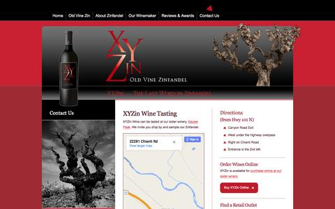 Screenshot of Contact Page xyzinwines.com - Contact XYZin Wines, Wine Tasting Map, Directions, Order Online/Phone - captured April 1, 2016