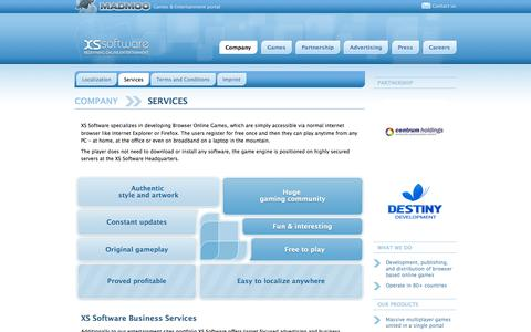 Screenshot of Services Page xs-software.com - XS Software   Company   Services - captured Sept. 19, 2014