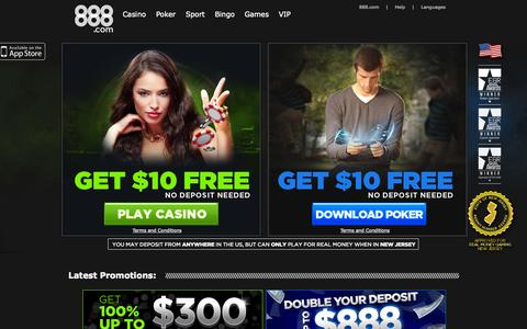 Screenshot of Home Page 888.com - Online Casino & Online Poker Room - 888.com - captured Sept. 18, 2014
