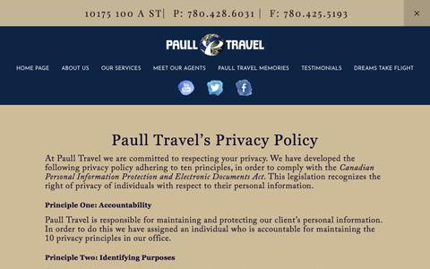 Screenshot of Privacy Page paulltravel.com - Privacy Policy — PAULL TRAVEL - captured July 16, 2018