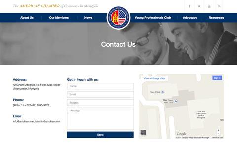 Screenshot of Contact Page amcham.mn - Contact Us | AmCham Mongolia - captured Oct. 4, 2014