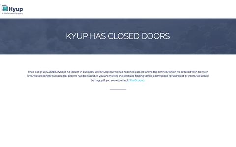 Screenshot of Press Page kyup.com - Scalable Cloud Hosting on Linux containers - captured Aug. 19, 2018