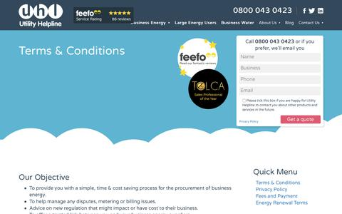 Screenshot of Terms Page utilityhelpline.co.uk - Terms & Conditions - Utility Helpline - captured Sept. 20, 2018