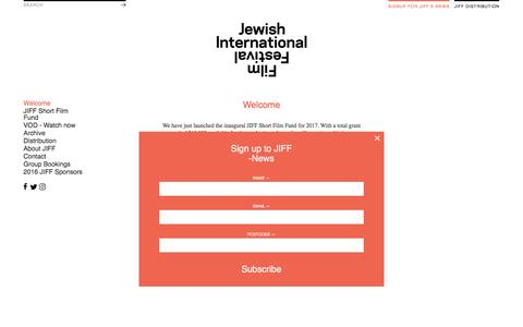 Screenshot of Signup Page jiff.com.au - Welcome - JIFF - captured Feb. 6, 2017