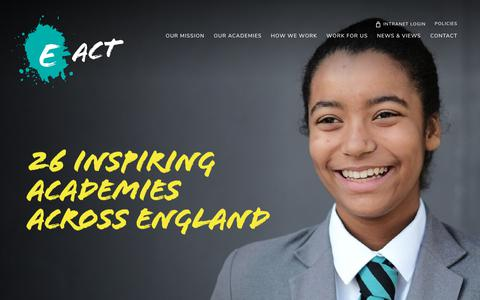 Screenshot of Home Page e-act.org.uk - Home - E-ACT - captured July 13, 2018