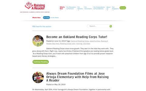 Screenshot of Blog rarbayarea.org - Our Blog   Raising A Reader San Francisco,  Alameda and Contra Costa Counties - captured Oct. 7, 2014