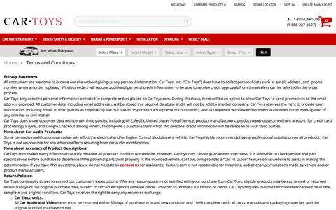 Screenshot of Terms Page cartoys.com - Terms and Conditions - captured Jan. 4, 2019