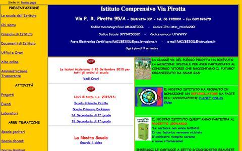 Screenshot of Home Page scuolapirotta.it - index - captured Sept. 17, 2015