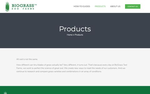 Screenshot of Products Page biograss.com - Products - Biograss - captured Oct. 5, 2018