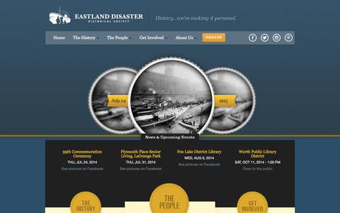 Screenshot of Home Page eastlanddisaster.org - Eastland Disaster Historical Society - captured Oct. 1, 2014
