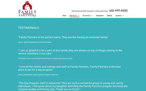 Screenshot of Testimonials Page familypartners.net - Family Partners- Inspiring people with disabilites - captured Oct. 10, 2018