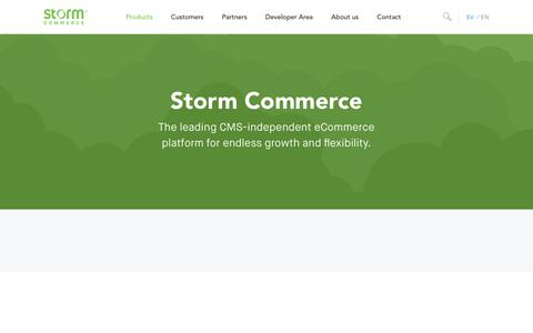 Screenshot of Products Page storm.io - The Platform • Storm Commerce - captured July 9, 2018
