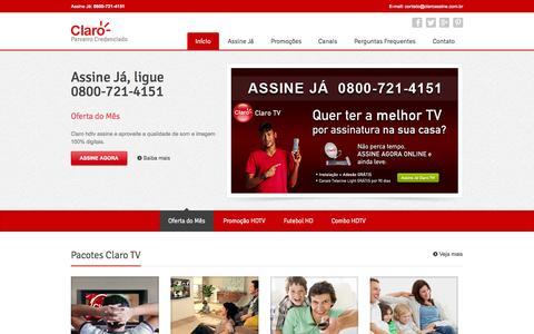 Screenshot of Home Page claroassine.com.br - Claro TV - Assine 0800-721-4151 - captured Jan. 26, 2015