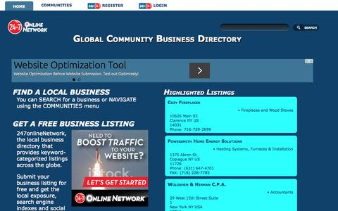 Screenshot of Home Page 247onlinenetwork.com - Business Directory | 247onlineNetwork - captured Aug. 31, 2015