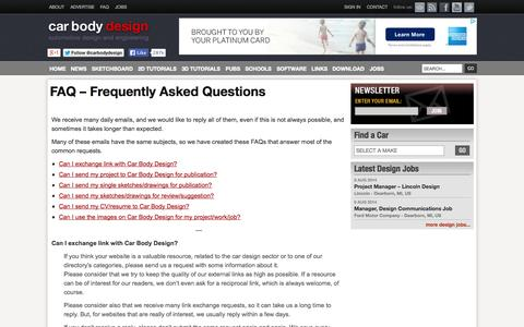 Screenshot of FAQ Page carbodydesign.com - FAQ – Frequently Asked Questions   - Car Body Design - captured Sept. 19, 2014