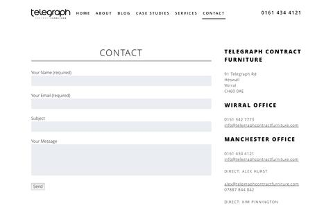 Screenshot of Contact Page telegraphcontractfurniture.com - Contact - Telegraph Contract Furniture - captured Jan. 10, 2016