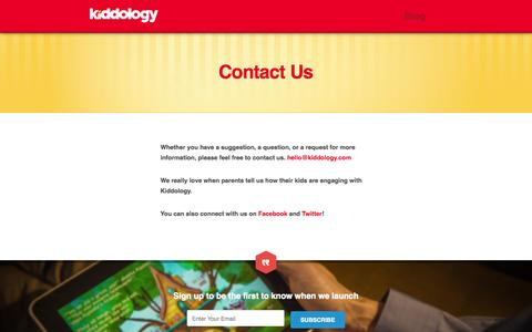 Screenshot of Contact Page kiddology.com - Contact Us - Kiddology - captured Oct. 27, 2014