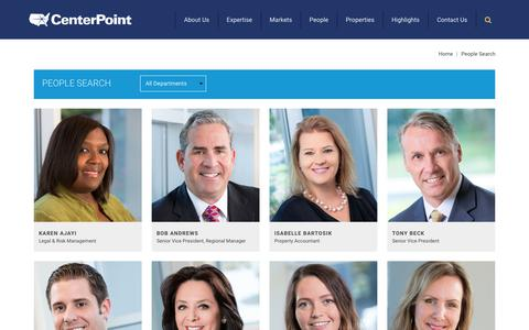 Screenshot of Team Page centerpoint.com - CenterPoint Investment, Development, Operations and Property Management Contacts - captured Sept. 27, 2018