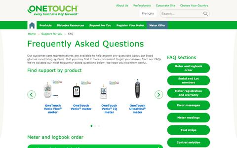 Screenshot of FAQ Page onetouch.ca - Frequently Asked Questions (FAQs) | OneTouch® - captured Oct. 18, 2018