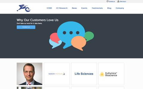 Screenshot of Testimonials Page eurekaconnect.com - EurekaConnect Testimonials - captured Sept. 30, 2014