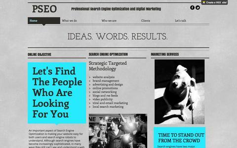 Screenshot of wix.com - PSEO - Professional Search Engine Optimization and Digital Marketing - captured Oct. 11, 2014