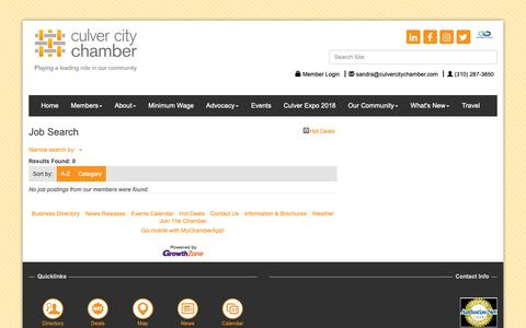 Screenshot of Jobs Page culvercitychamber.com - Job Search - Culver City Chamber of Commerce, CA - captured Sept. 30, 2018